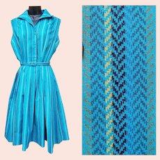 Beautiful Vintage 1960s Dress Teal Cotton Size Large Bust 38