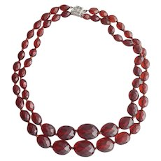 Bakelite Necklace Faceted Beads Double Strand Sterling Clasp