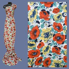 1940s Vintage Cotton Fabric Red and Yellow Poppies