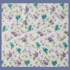 Vintage Cotton Sewing Fabric Blue and Purple Roses