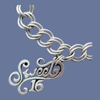 Sterling Silver Bracelet with Sweet 16 Charm 14.4 Grams