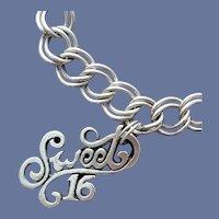 Sweet 16 Charm Sterling Silver Bracelet 14.4 Grams