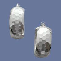 Hammered Dome Hoop Earrings Sterling Silver 11.1 Grams