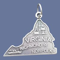 State of Virginia Sterling Silver Bracelet Charm