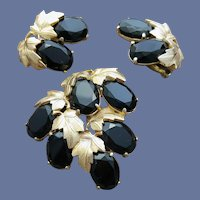 Schiaparelli Rhinestone Brooch and Earrings Dramatic Demi Parure