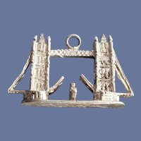 London Tower Bridge Sterling Charm with a Ship Heavy .925