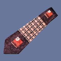 Vintage Jacquard Necktie Wide 1950s French Moderns