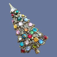 Vintage Christmas Tree Brooch Multi Colored Rhinestones