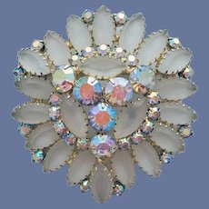 Frosted Rhinestone Brooch Juliana by D and E
