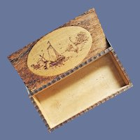 Antique Wood Trinket Box Ships Lighthouse Dutch Windmill