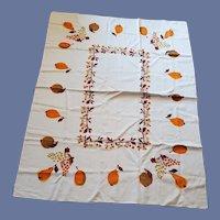 Vintage Cotton Tablecloth Fruit Motif Mid Century