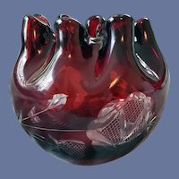 Red Cut To Clear Rose Bowl Antique Bohemian Glass