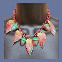 1930s Celluloid Necklace Acorns Leaves Autumn Colors