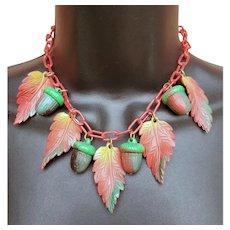 1930s Celluloid Necklace Acorns Leaves Autumn Colors