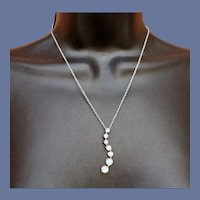 Sterling Silver and CZ Crystal Undulating Necklace