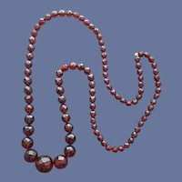 Faceted Cherry Bakelite Bead Necklace 31 inches