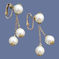 Clip Earrings 1960s Classic Faux Pearl Dangles