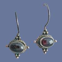 Sterling and Garnet Pierced Earrings .925
