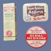 Dr's Sample Tin Plus 2 Drug Store Containers Advertising