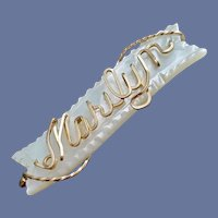 Marilyn Name Brooch Mother of Pearl Gold Filled Wire