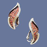 1960s Gold Tone Earrings Autumn Orange Rhinestones
