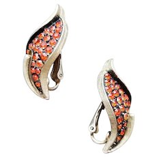 1960s Gold Tone Earrings Autumn Orange Rhinestones