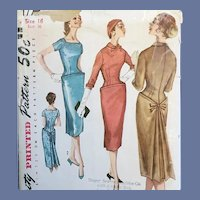 1959 Sewing Pattern Dress Mid Century Modern Bust 36