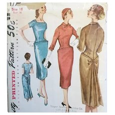 1959 Sewing Pattern Sheath Dramatic Back Flare Bust 36