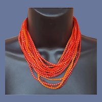 1960s Extra Long Necklace Lucite Bead Orange and Red Autumn