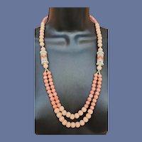 1970s Unique Bead Necklace Coral Plastic Components
