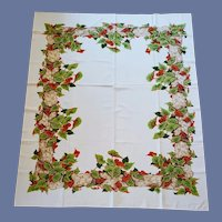 1960s Cotton Tablecloth Fall Colors Heart Shaped Leaves