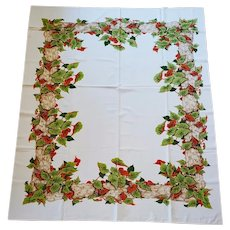 1960s Cotton Tablecloth Rich Colors Heart Shaped Leaves