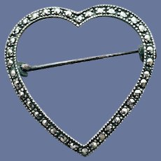 Heart Shaped Brooch in Sterling Silver and Marcasites