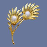 Trifari Brooch Graceful Flowers with Big Faux Pearls MIB