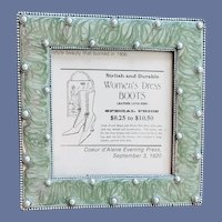 Green Enamel Metal Picture Frame with Faux Pearls 1990