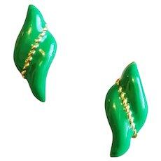 1970s Green Enamel Pierced Earrings Small Size