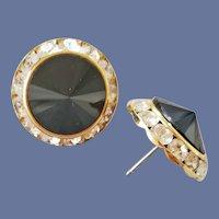 Sparkling Rivoli Rhinestone Earrings Pierced Perfection