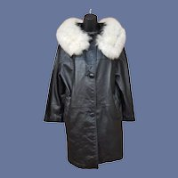 1960s Black Leather Coat White Fox Fur Collar Md-Lg