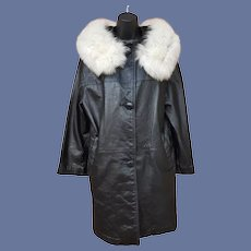 1960s Black Leather Coat White Fox Fur Collar Md-Lg