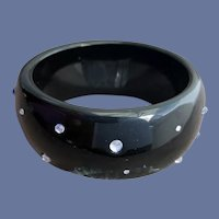 Wide Lucite Bangle Bracelet with Rhinestones
