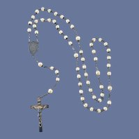 Vintage Sterling Rosary with Faux Pearls Hill Mark