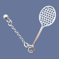 Sterling Bracelet Charm Tennis Racket and Ball