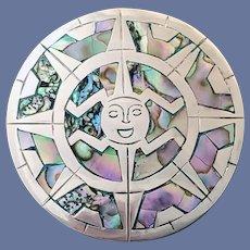 Sterling Abalone Brooch Pendant Handmade Aztec God