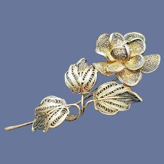 800 Silver Exquisite Cannetille Brooch Intricate Filigree