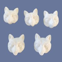 5 White Plastic Fox Face Buttons Unused