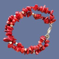 Two Strand Red Coral Bracelet .925 Clasp Small