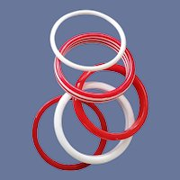5 Vintage Lucite Bangle Bracelets Red and White