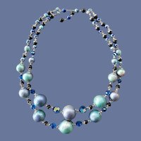 Unusual Blue Bead and Crystal Necklace 1960s