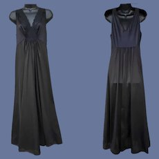 Vintage Nightgown Ankle Length Black Nylon Medium