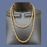 Long Seed Bead Necklace Long Art Deco Style